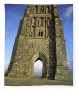 Vertical View Of Glastonbury Tor Fleece Blanket