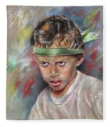 Very Young Maori Warrior From Tahiti Fleece Blanket