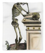 Vesalius: Skeleton, 1543 Fleece Blanket