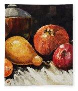 Vessel And Fruit Fleece Blanket