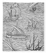 Vessels Of Early Spanish Navigators From The Narrative And Critical History Of American Fleece Blanket