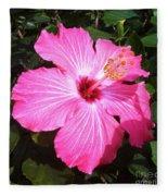 Vibrant Pink Hibiscus Fleece Blanket