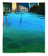 Vibrant Reflections -water - Blue Fleece Blanket