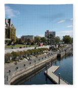 Victoria Harbour With Empress Hotel Fleece Blanket