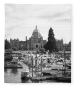 Victoria Harbour With Parliament Buildings - Black And White Fleece Blanket