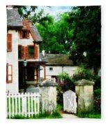 Victorian Home With Open Gate Fleece Blanket