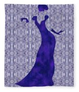 Victorian Lady In Blue Fleece Blanket