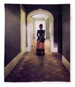Victorian Lady In Hallway Fleece Blanket