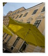 Vienna Street Life - Cheery Yellow Umbrellas At An Outdoor Cafe Fleece Blanket