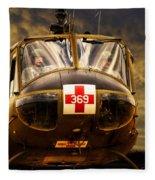 Vietnam Era Medivac 369 Helicopter Fleece Blanket