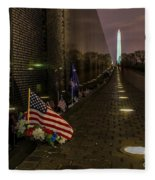 Vietnam Veterans Memorial At Night Fleece Blanket
