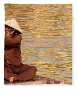 Vietnamese Boatman 01 Fleece Blanket