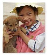 Vietnamese Girl 02 Fleece Blanket