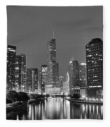 View Down The Chicago River Fleece Blanket