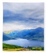 View From Bealach Ratagan To The Five Sisters Of Kintail Fleece Blanket