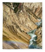 View From Lower Falls Of The Yellowstone River  Fleece Blanket