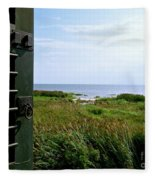 View From The Window At East Point Light Fleece Blanket