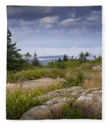 View From Top Of Cadilac Mountain In Acadia National Park Fleece Blanket