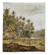 View Near Point Du Galle, Ceylon, Engraved By Daniel Havell 1785-1826 Published In 1809 Coloured Fleece Blanket