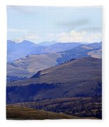 View Of Absaroka Mountains From Mount Washburn In Yellowstone National Park Fleece Blanket