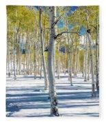 View Of Aspens In Fresh Winter Snow Fleece Blanket