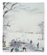 View Of Buckingham House And St James Park In The Winter Fleece Blanket