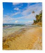 View Of Caribbean Coastline Fleece Blanket