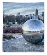 View Of Charlotte Nc Skyline From Midtown Park Fleece Blanket