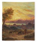 View Of Constantinople Fleece Blanket
