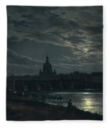 View Of Dresden By Moonlight Fleece Blanket