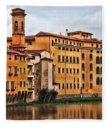 View Of Florence Along The Arno River Fleece Blanket