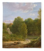 View Of Fontainebleau Forest, 1829 Oil On Canvas Fleece Blanket