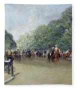View Of Hyde Park With Figures On Rotten Row  Fleece Blanket