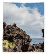 View Of Lava Rock On The Coast, Pico Fleece Blanket