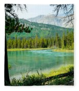 View Of Mistaya Between The Trees Fleece Blanket