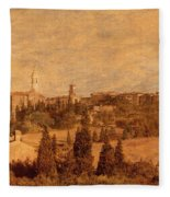 View Of Pienza And The Tuscan Landscape Fleece Blanket