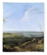 View Of Portsmouth From Portsdown Hill Fleece Blanket