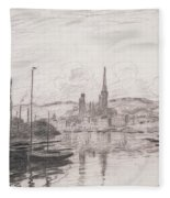 View Of Rouen Fleece Blanket