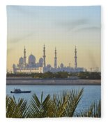View Of Sheikh Zayed Grand Mosque Fleece Blanket