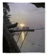 View Of Sunrise From The Window Of A Houseboat Fleece Blanket