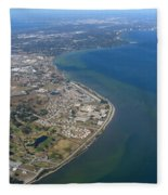 View Of Tampa Harbor Before Landing Fleece Blanket