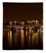 View Of Thames River From Waterloo Fleece Blanket