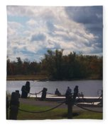 View Of The Creek From Catskill Point Fleece Blanket