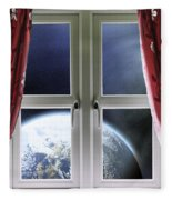 View Of The Earth Through A Window With Curtains Fleece Blanket