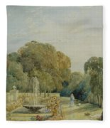View Of The Gardens At Chatsworth Fleece Blanket