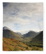 View Of The Glencoe Mountains Fleece Blanket