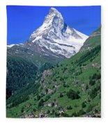 View Of The Matterhorn And The Town Fleece Blanket