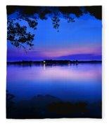 View Of The Night Lake Fleece Blanket
