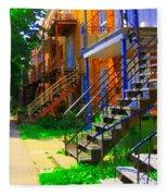 View Of Verdun Steps Stairs Staircases Winding Through Summer  Montrealstreet Scenes Carole Spandau Fleece Blanket