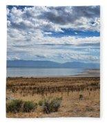 View Of Wasatch Range From Antelope Island Fleece Blanket